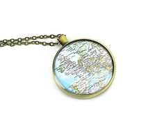 Handmade 2004 Europe map necklace World jewelry bronze memento gift for her *** Want to know more, click on the image.