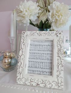 Mimi's Vintage Charm: Christmas song from a hymnal put in a pretty frame...