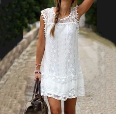 Casual Round neck white lace dress http://www.luulla.com/product/458124/casual-round-neck-white-lace-dress-sf8309jl