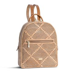 Kork Rucksack «Fifty Six20» – Rucksack aus Kork mit Lasercut-Muster Fashion Bags, Fashion Backpack, Cork Art, Fashion Marketing, Leather Handle, Leather Backpack, Crossbody Bag, Backpacks, Purses