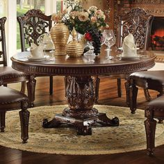 Vendome 72 Inch Round Dining Table (Cherry) by Acme Furniture in Dining Tables. The Vendome Dining Room Collection by Acme Furniture features a Dining Table complemented with oversized upholstered Chairs all accented by floral carving decorative base and Round Pedestal Dining Table, Dining Room Table, Dining Set, Tuscan Dining Rooms, Round Dining Room Sets, Round Tables, Kitchen Tables, Kitchen Nook, Kitchen Tips