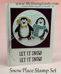 Snow Place Penguins Handmade Card Let It Snow winter card. www.mystamplady.com