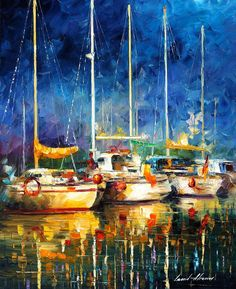 Afremov Painting Palette Knife Art Handmade Surreal Abstract Oil Landscape Original Realism Unique Special Life Color Beauty Admiring Light Reflection Piece Renown Authenticity Smooth Certificate Colorful Beauty Perspective Color Midnight Moon Harbor Yach