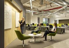 Skype's Modern Palo Alto Office - breakout with whiteboards + desks behind