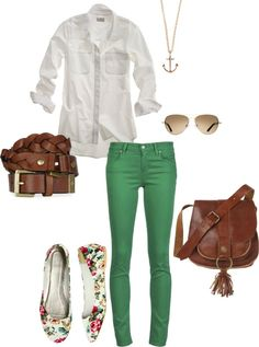 green pants with white button-down blouse