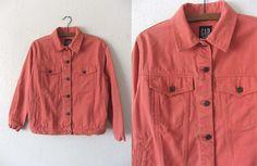 90s Coral Color Denim Jacket  Vintage Grunge by BuddyBuddyVintage