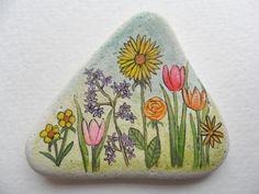 Flower Garden Miniature art on English sea pottery by Alienstoatdesigns, $15.00