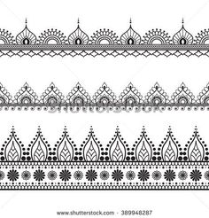 Check the way to make a special photo charms, and add it into your Pandora bracelets. Border elements in Indian mehndi  style for card or tattoo. Vector illustration isolated on white background.
