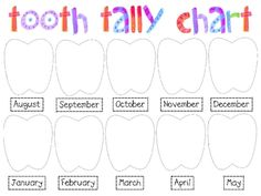 Keep track of all the teeth your little ones lose during calendar time. Place a tally mark under the month for every tooth lost.Includes August-May...