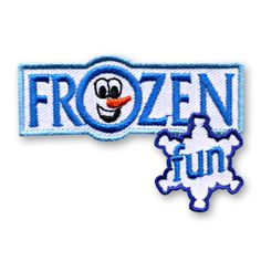 1 3/4 x 2 1/2 Inches **IRON-ON backing for easy & Snappy application** Everything is frozen!! Use our Frozen Fun patch to commemorate the next frozen themed activity or event with your youth group or troop. http://www.snappylogos.com/Frozen-Fun-Patch/productinfo/3851/