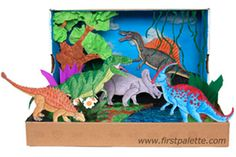 Your little ones can travel back in time and learn about habitats with this adorable dinosaur diorama (via first palette)