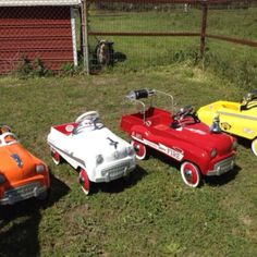 Vintage pedal cars  No motors  Kids had to use their muscles  =]