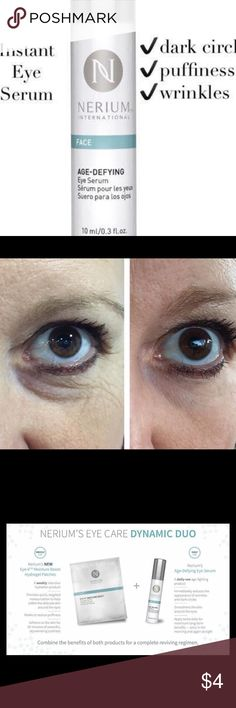 Nerium Eye Serum Packets Try this fabulous product and see instant and amazing results! Get rid of fine lines, puffiness and dark circles within minutes. This listing is for two sample packets. If you haven't tried it now is the time! Check out all of our products at Scottanddenise.nerium.com.   Nerium Makeup