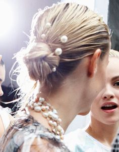 Embellished Updos  Mermaid pearl hairpins at Chanel