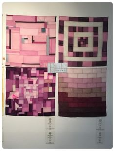 Four student works in the same colorway Fabric Board, Korean Traditional, Patchwork Patterns, Fabric Manipulation, Quilting Designs, Hand Sewing, Diy Projects, Quilts, Creative