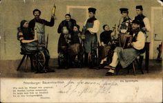 Postcard Altenburger Bauerntrachten, Die Spinnstube, Spinnrad, Akkordeonspieler, 1908