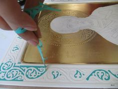 Crafts For Girls Hobbies And Crafts Custom Stencils Craft Ideas Craft Projects Plaster Of Paris Goldwork Diy Plaster Painted Walls - DiyForYou Byzantine Icons, Byzantine Art, Illuminated Letters, Illuminated Manuscript, Crafts For Girls, Hobbies And Crafts, Writing Icon, Diy Plaster, How To Make Snowflakes