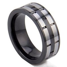 King Will 8mm Men's Tungsten Carbide Ring with Ceramic Inlay Groove Center Wedding Bands Polished Finish