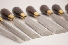 A while ago I made this custom set of chisels in my shop for a fellow hand tool lover. The wood is leadwood, the steel is with brass ferulles. It was a beautifull project to make and I had lots of fun. Chisel Set, Knife Block, Hand Tools, I Shop, Hair Accessories, Woodworking, Brass, Steel, Hand Tool Sets