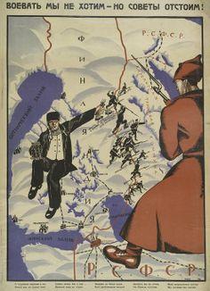 "A 1922 Bolshevik propaganda poster ""We don't want war, but we will defend the Soviets! Famous Photos, Iconic Photos, Finnish Civil War, Military Intervention, Propaganda Art, Russian Revolution, Old Art, History Museum, Cartoon Styles"