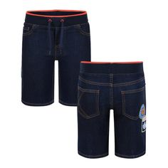 5bd4ab10b94a Kenzo Kids Boys Blue Denim Shorts with Elasticated Navy and Orange Waist  and Logo Patch Boys Jog Jeans