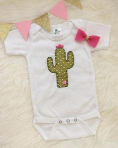 Baby cactus onesie/ bodysuit hand sewn applique cute cactus