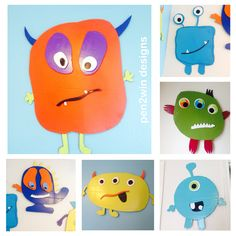 More friendly monsters for baby nursery. Made from cardboard.  See Facebook PEN2WIN Designs for more cardboard art.