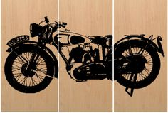 Vintage Motorcycle / Che Guevara motorcycle / Screen Print Wood Painting Wall Art / Bike / Home Decor / Man Cave / Gift / on Stained BIRCH Image is