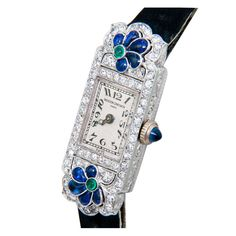 Vintage Watches Collection : Vacheron and Constantin Lady's Platinum Diamond, Sapphire, Emerald Wristwatch - Watches Topia - Watches: Best Lists, Trends & the Latest Styles Bijoux Art Deco, Art Deco Jewelry, Jewelry Box, Jewelery, Jewelry Watches, Antique Watches, Vintage Watches, Belle Epoque, Antique Jewelry