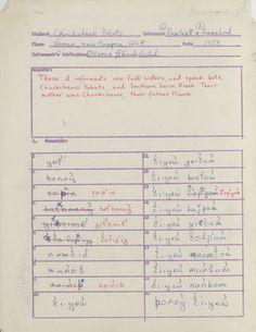 UC Survey of California & Other Indian Languages: A Chukchansi Yokuts survey sheet