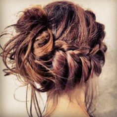 Messy bun, and a braid.