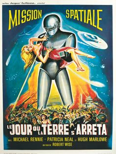 The Day The Earth Stood Still (Aka Le Jour Ou La Terre S'Arreta) French Poster Art 1951 Tm And Copyright Century Fox Film Corp. All Rights Reserved./Courtesy Everett Collection Movie Poster Masterprint x Horror Movie Posters, Sci Fi Horror Movies, Classic Movie Posters, Film Science Fiction, Fiction Movies, Arte Sci Fi, After The Fall, Arte Robot, Comic Poster
