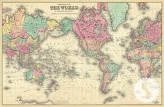 - DESCRIPTION - SPECS 1856 Colton's Map of the World Swag Paper's vintage map collection offers an amazing new way to create a show stopping space. The collection features original hand drawn and char