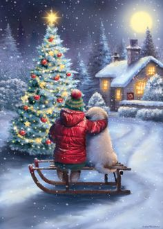 Diamond Painting Christmas Tree Dogs and Children Paint with Diamonds Art Crystal Craft Decor Christmas Tree And Dogs, Christmas Scenery, Christmas Artwork, Christmas Tree Painting, Cozy Christmas, Christmas Wallpaper, Christmas Pictures, Xmas, Illustration Noel