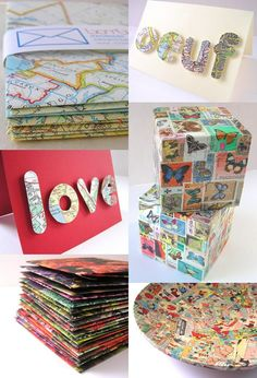 News From the Craft + Style made from recycled maps, stamps, cartoons, etc...