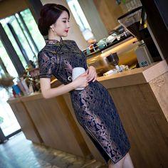 New Arrival Women's Long Cheongsam Hot Sale Traditional China Lady Lace Qipao Elegant Slim Dress Flower Size S M L XL XXLF070106