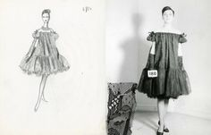 BALENCIAGA Sketch for a baby doll dress and the final garment, 1958