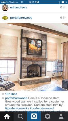Grey Barn Wood Fireplace