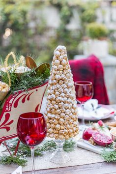 """Make DIY popcorn trees dusted with sugar """"snow"""" to decorate your holiday tables! Summer Christmas, Elegant Christmas, All Things Christmas, Christmas Ideas, Thanksgiving Decorations, Christmas Decorations, Holiday Tablescape, Holiday Dinner, Holiday Decorating"""