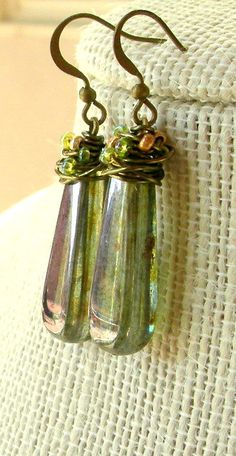 Olive Green Wirewrapped Teardrop Earrings. $22.50, via Etsy.