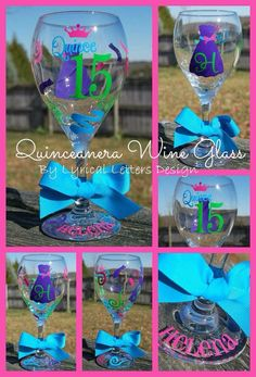 Quinceañera wine glass
