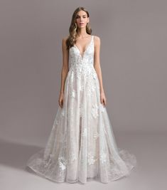 Style 7958 Landen Ti Adora by Allison Webb bridal gown - Ivory/Cashmere lace and English net A-line gown. Deep V-neck sheer bodice with sheer v back and button detailing. Luxury Wedding Dress, Wedding Dress Shopping, Bridal Wedding Dresses, Designer Wedding Dresses, Bridal Style, Boho Wedding, A Line Gown, Bridal Boutique, Bride