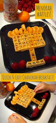 Assemble these quick & easy Menorah waffles in moments for a special Chanukah breakfast