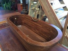 Afrormosia Wooden Bath. CNC Machined.