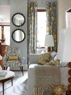 Yellow and Gray Curtains - Contemporary - living room - Para Paints Courtyard - Sarah Richardson Design Living Room Upgrades, Living Room Update, My Living Room, Home And Living, Living Room Decor, Living Spaces, Modern Living, Modern Family, Bedroom Decor