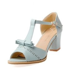 c82f6a2735 BeautyZone Womens Open Toe Mid Heel Chunky Soft Material PU Solid Sandals  with Bowknot and T
