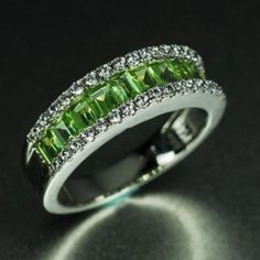 Custom Made Engagement Ring -1.5 Carat Peridot Ring With Diamonds, 14k White Gold