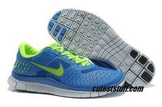 $54.29   Mens Nike Free 4.0 V2 Royal Blue/Volt Shoes