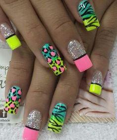 Nails Funky Nail Art, Funky Nails, Neon Nails, Cute Acrylic Nails, Toe Nail Art, Cute Nails, Pretty Nails, Pretty Nail Designs, Toe Nail Designs