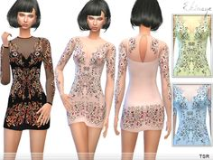 The Sims Resource: Crystal Bodycon Dress by Ekinege � Sims 4 Downloads
